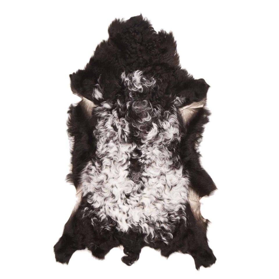 Tibetaanse schapenvacht zwart wit J21