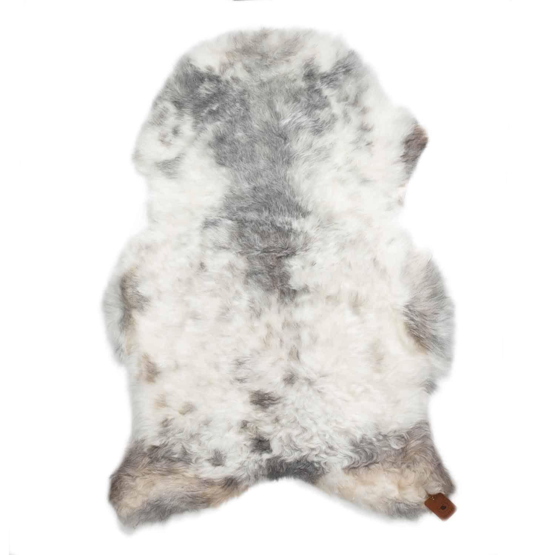 Schapenvacht Wit met grijsP44
