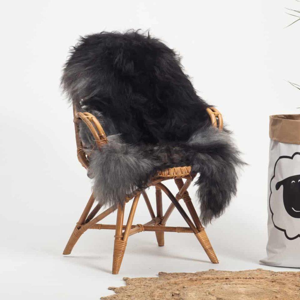 Schapenvacht Grijs IJslands R55 maat XL.stoel