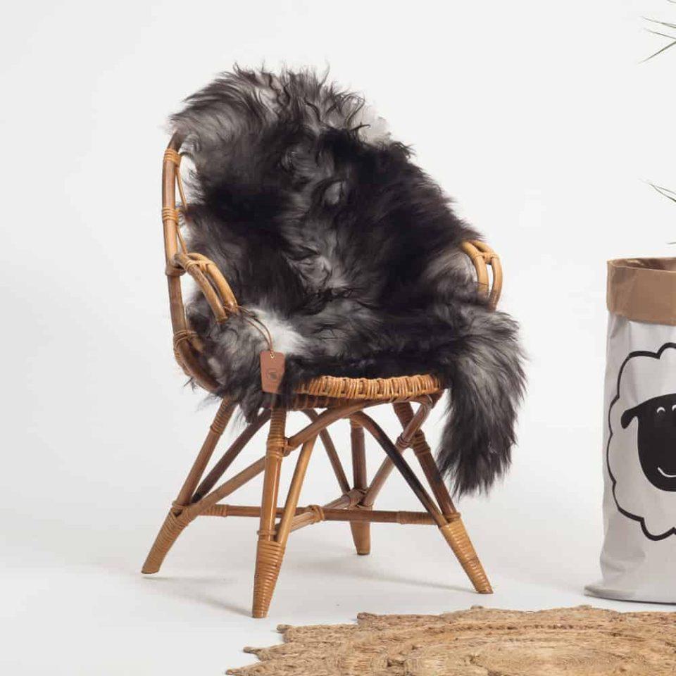 Schapenvacht Grijs IJslands R56 maat XL.stoel