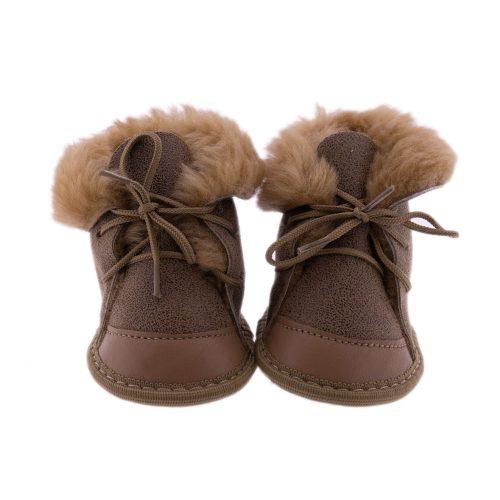 Babyslofjes wol taupe Moep 1 Sheepycc