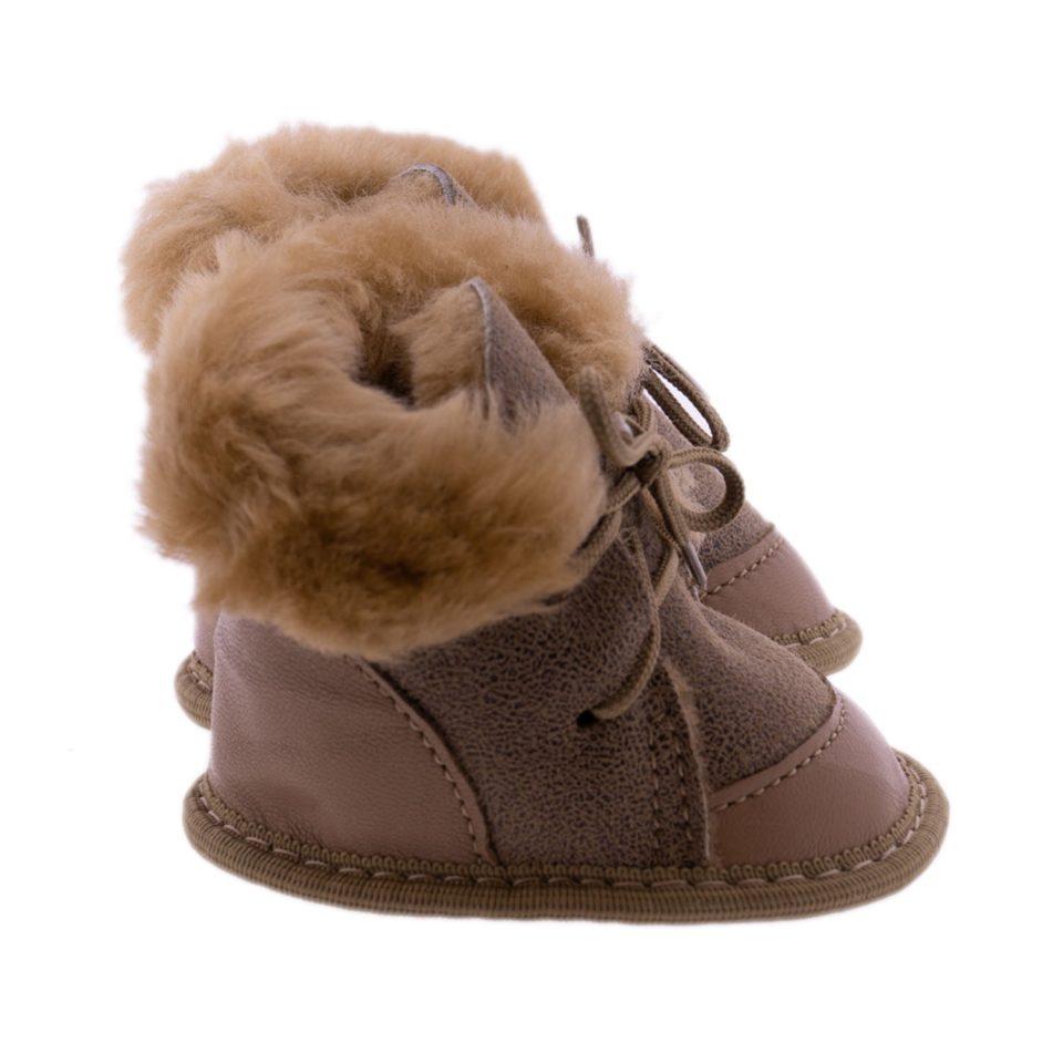 Babyslofjes wol taupe Moep 3 Sheepycc