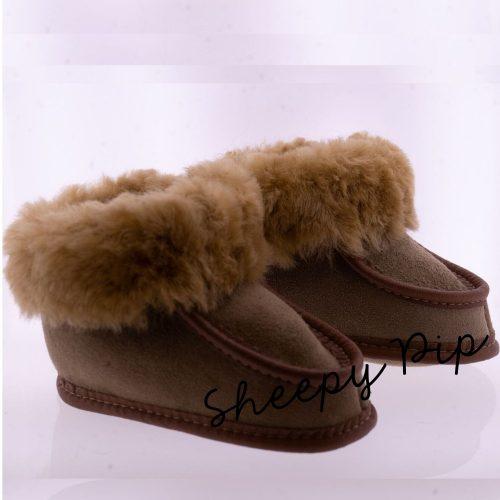 Babyslofjes wol taupe Pip Sheepycc 00